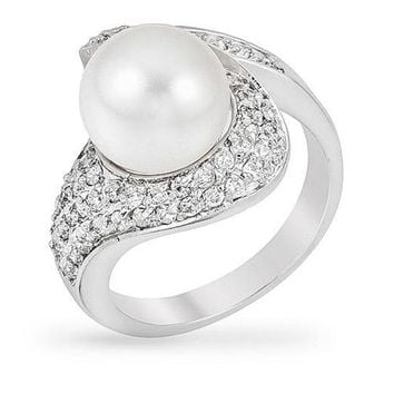 Audrey 2ct CZ White Gold Rhodium Pearl Ring