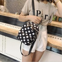 University College Backpack Meloke 2018 high quality Women PU School s  Schoolbag Fashion dot  for Teenager Girl mini travel bag M128AT_63_4