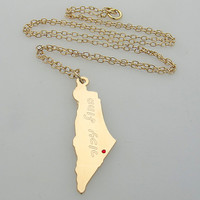 Gold Jewish Necklace / Personalized Israel Map Pendant Necklace / Judaica Jewelry