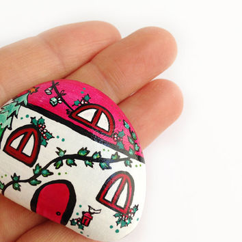 Christmas magnet house decorative handpainted magnet in stone