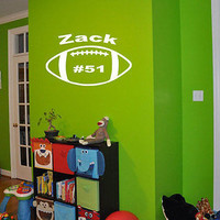 Football Name Wall decal personalized player ball boys wall sticker decor nm341