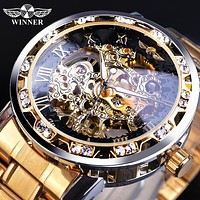 Classic Analog Rhinestone and Roman Numeral Skeleton Watch. Hand Wind and Stainless Steel Band 7 Colors FREE SHIPPING