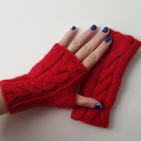 Red Alpaca,Knitted gloves, hand knitted, knitted, gloves,Promotion!   Season Discount! Coupon code: NOELSALE