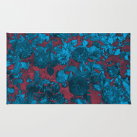 Roses Are Blue Area & Throw Rug by Shawn King