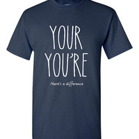 Funny Grammar Police T-shirt Tshirt Tee Shirt Your You're Sarcastic Graphic T Gift Idea for Teacher Unique Birthday Grad Christmas Humor