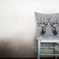 Deer pillow decorative throw pillow cover gray cotton toss pillow case cover hand printed cushion rustic bedding bedroom set 18x18 inches