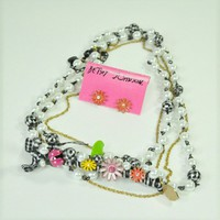 Betsey Johnson Picnic Pearl Necklace and Earrings