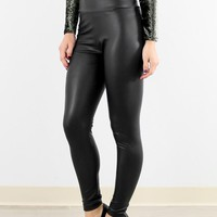 Into The Night Black Faux Leather High Waisted Pants