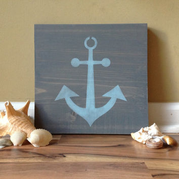 Nautical Anchor Stained Wood Sign Personalized Beach Decor vintage distressed rustic sign hand painted anchor beach wedding decor weathered