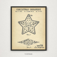 Christmas Ornament Patent, Digital Download, Christmas Wall Decor, Christmas Gift Prints, Party Decorations, Star Poster, Happy Holidays Art