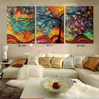 Modern Wall Art Home Decoration Printed Oil Painting Pictures No Frame 3 Piece Canvas Pop Art Abstract Colorful Tree Room Prints