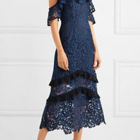 Rachel Zoe - Poppy cold-shoulder guipure lace midi dress