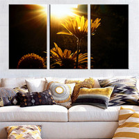 No Frame Flower Picture Oil Painting Yellow Dark Landscape Sunshine Canvas Picture Home Decoration Wall Poster Art Print 3Pcs
