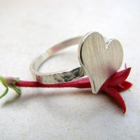 Sterling Silver ring Heart Ring hammered ring by ArtIsApassion