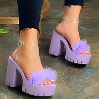 Large size women's shoes platform sole thick with plush transparent ankle loop strap buckle high heels women sandals Shoes