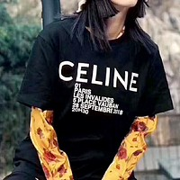 CELINE street fashion men's and women's street wild fashion round neck T-shirt black