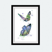 Butterfly watercolor print Butterfly poster Butterfly decor Butterfly wall art Home decoration Living room decor Kids room art poster W551