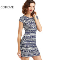 COLROVIE Tribal Print Boho Summer Dress Women Navy And White Vintage Cap Sleeve Dresses 2017 New Brief Slim Sexy Bodycon Dress
