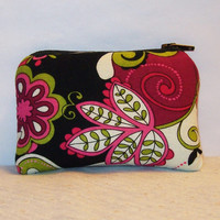 """Hippy Floral Pink & Green Cotton Padded Pipe Pouch 4"""" / Glass Pipe Case / Spoon Cozy / Piece Protector / Pipe Bag / MINI"""