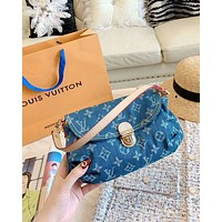 LV 2019 new female denim blue canvas old flower baguette bag handbag