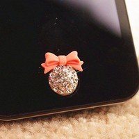 Rhinestone Bow Home Button Sticker for iPhone 4,4s,5