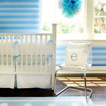White Pique in Blue Crib Bedding Set