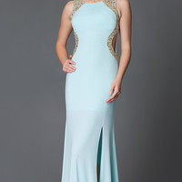 Long Sleeveless Open Back Prom Dress with Sequin Detailing