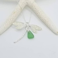 seaglass necklace, Dragonfly necklace, Beach Lovers Gift