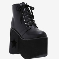 Black Star & Moon Cutout Platform Booties