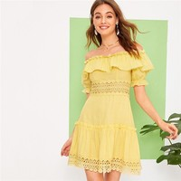 Yellow Off Shoulder Lace Insert Ruffle Trim High Waist Dress Women Solid Frilled Fit and Flare Short Boho Dresses
