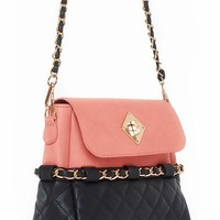 Claudia Quilted Handbag - Peach from Urban Expressions at ShopRoxx.com