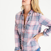 AEO Washed Plaid Boyfriend Shirt, Pink