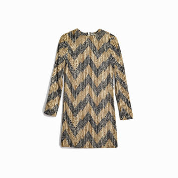 Vintage 70s Mod Mini Dress in Zig Zag / Long Sleeve Dress / 70s Go Go Sheath Dress  - women's xs/small