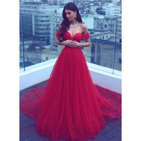 Evening Dresses Red Strapless Tulle Best Prom Dresses