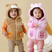 New arrivals Unisex Baby Kids Cartoon Clothing Clothes Outwear Sleeveless Thicken Pile coating Cotton blended Autumn/Winter warmth Waistcoat