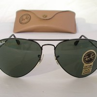 Cheap New Vintage B&L Ray Ban Large Metal Black G-15 L2823 Aviator 58mm Sunglasses USA outlet
