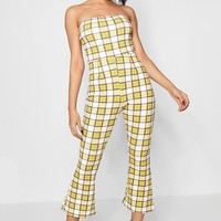 Kirsty Check Bandeau Jumpsuit | Boohoo