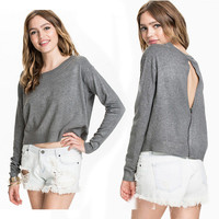 Cutout Back Long Sleeves Knitted Sweater
