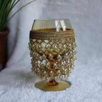 Vintage Jeweled Wine Goblet covered with Chain-like Material & Pearly Beads, Amber Glass