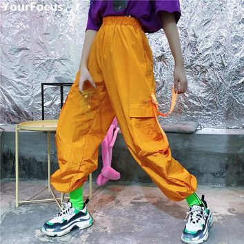 Harajuku summer vintage ins hot cool orange side with pockets elastic waist high street hip hop thin cargo pants YQ-676