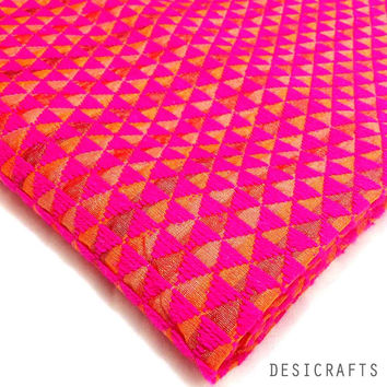Hot Pink Hand Embroidered Phulkari