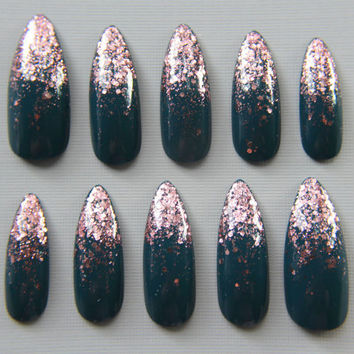 Stiletto Teal and Rose Gold Nails | Press On Nails | Fake Nails | False Nails | Glue On Nails | Acrylic Nails | Handpainted | Nail Art