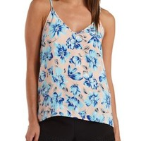 White Combo Floral High-Low Swing Tank Top by Charlotte Russe
