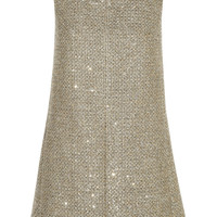 Saint Laurent - Sequin-embellished metallic tweed mini dress