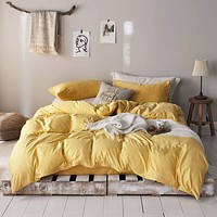 "mixinni 3 Pieces Modern Style Duvet Cover Set Solid Color Gold Microfiber Bedding Cover Set with Zipper Ties for""Him and Her"" (1 Duvet Cover + 2 Pillow Shams),Easy Care,Soft,Durable (Gold,Queen Size) Full/Queen(90"" x 90"") 7#gold"
