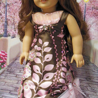 The Beaded Garden formal dress(18 inch) Brown and pink beaded evening gown OOAK for American Girl doll