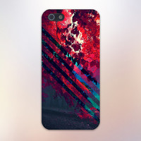 Transparent Red Leaves x Forest Stripes Design Case for iPhone 6 6 Plus iPhone 5 5s 5c iPhone 4 4s Samsung Galaxy s5 s4 & s3 and Note 4 3 2