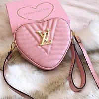 LV Trending Women Shopping Bag Leather Shoulder Bag Handbag Stylish Heart Crossbody Satchel Pink