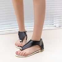Women Ankle Wrap Zipper Flat Flip Flops Sandals 8165