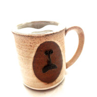 Vintage Mustache Mug Brown Spreckled Hand Made In 1970s